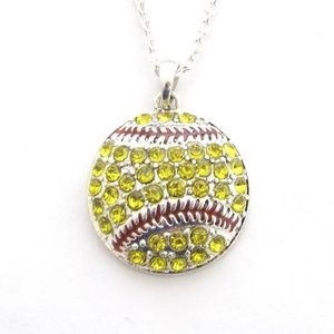 Softball Yellow Pendant Chain Necklace